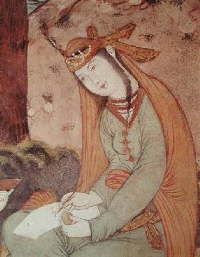 Woman Writing in the Court of Shah Abbas I (1571-1629)