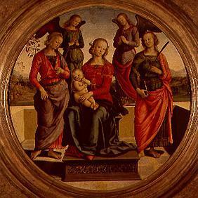 Madonna surrounded of angels and saints sitting enthroned
