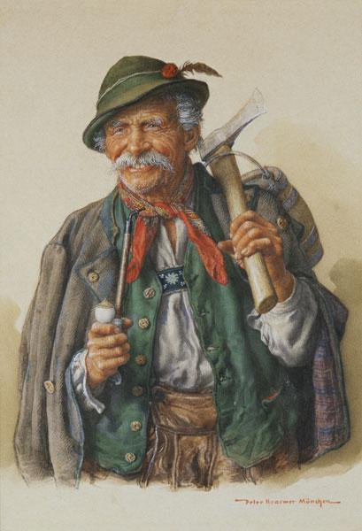 Alpine woodcutter with pipe