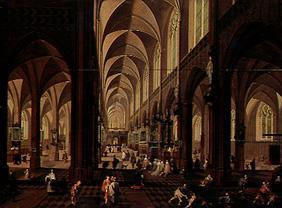 (the inside of the cathedral of Antwerp fray out staffage for Francken III of).