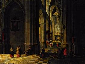 Inside of a Gothic church with three naves