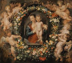 The Madonna in the floral wreath. The floral wreath of Jan Brueghel senior (1568-1625)