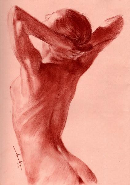 Femme Nue De Dos femme nu de dos mains sur la nuque - philippe flohic as art print or