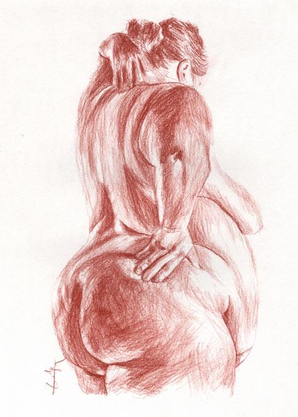 foto de Sanguine femme forte de dos - Philippe Flohic as art print or hand ...