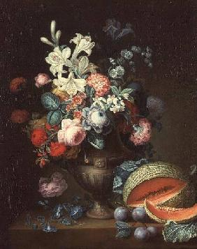 Still life of flowers in a classical vase with a cut melon, 1768 (one of a pair
