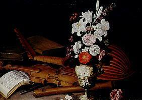 Quiet life with flowers and musical instrument