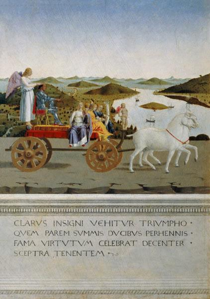 Triumph car pulled by two white horses. Backside of Battista Sforza portrait