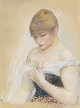 Young Woman Holding A Flower. Portrait of the actress Jeanne Samary