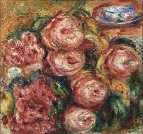 Composition with roses and a cup of tea