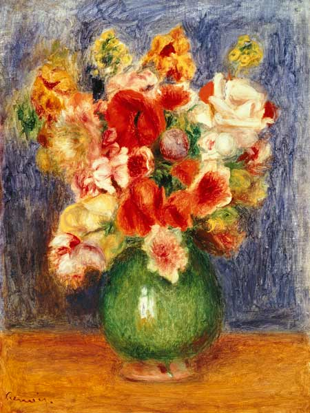Still Life With Flowers In A Green Vase Pierre Auguste