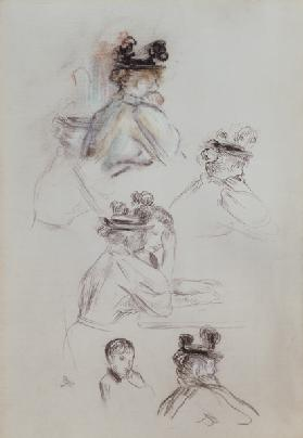 Worksheet with Seven Figures (charcoal, ink & pastel on