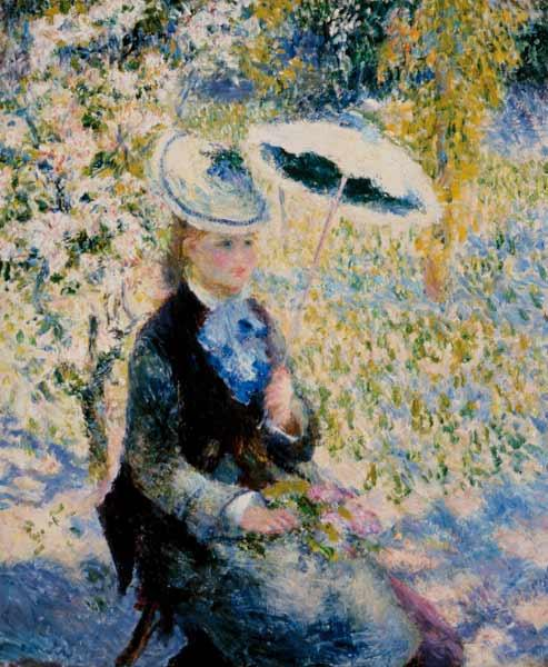 Woman with parasol between flowers