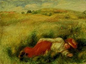 Young woman, meadow turns green lying in one.