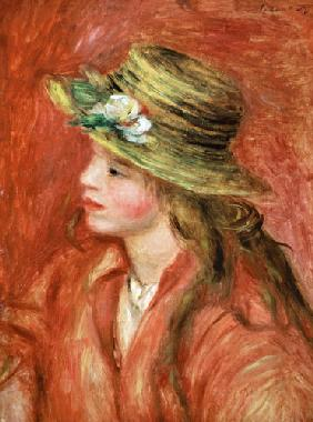 Young girl with straw hat