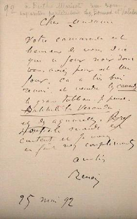 Letter from Renoir to Berthe Morisot (1841-95) regarding her first exhibition