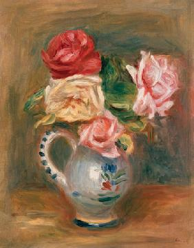 Roses in a pottery vase