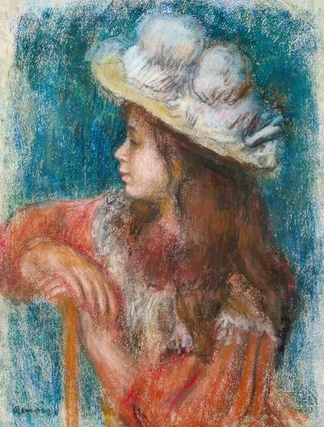 Seated Young Girl in a White Hat