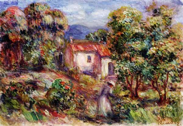 Woman picking Flowers in the Garden of Les Colettes at Cagnes