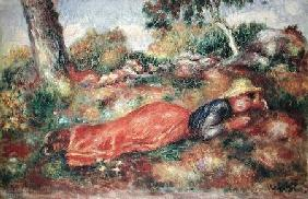 Young Girl Sleeping on the Grass
