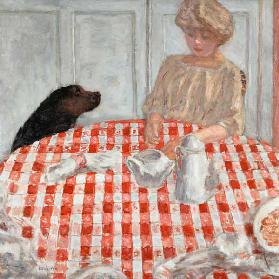 The red-chequered Tablecloth or The Dog's Dinner