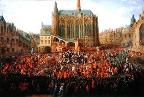 The Departure of Louis XV (1710-74) from Sainte-Chapelle after the 'lit de justice' which ended the