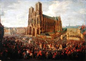 The procession of King Louis XV (1710-74) after his coronation, 26th October 1722