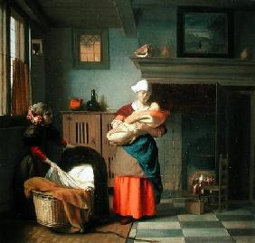 Nursemaid with baby in an interior and a young girl preparing the cradle