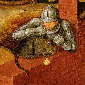 Knight putting a bell on a cat, detail from ''The Flemish Proverbs'' (detail of 67235)