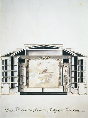 Cross section view of a theatre on the Grand Canal showing the stage and orchest