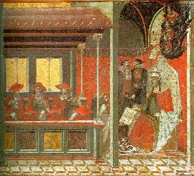 Pope John XXII Approving the Carmelite Rule (Predella panel)