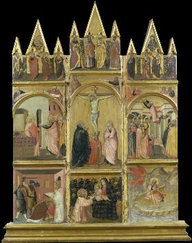 Crucifixion, Virgin and Child, Deacon and Scenes from the Legends of Saints Matthew and John the Eva