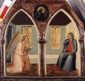 The St. Giusto Polytych, detail showing the Annunciation