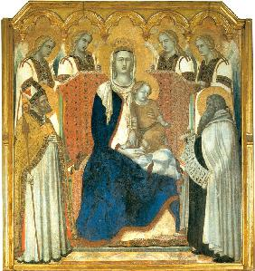 Madonna and Child Enthroned between Saint Nicholas and Prophet Elijah (Madonna del Carmine)