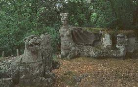 Lions and fantastical creatures, sculptures from the garden of the Villa delle Meraviglie