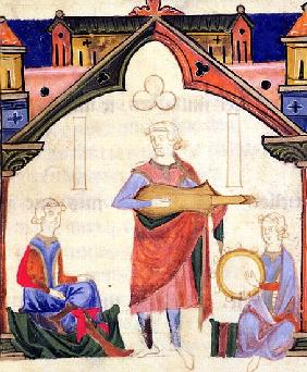 Fol.12v Musicians playing the guitar and tambourine, from the ''Chansonnier des Nobles''
