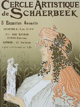 Reproduction of a poster advertising 'Schaerbeek's Artistic Circle, the Fifth Annual Exhibition', Ga