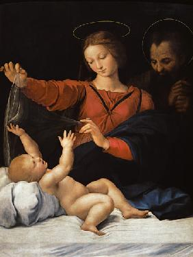 Holy Family, so-called Madonna del bicycle. Copy of the missing painting.