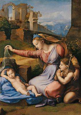 Madonna with sleeping child and St. of Johannes (Madonna with the diadem)