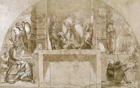 Compositional study for 'The Liberation of St. Peter' in the Stanza d'Eliodoro in the Vatican (pen &
