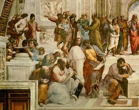 The School of Athens, detail from the left hand side showing Pythagoras surrounded by students and M