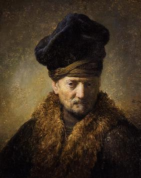 Portrait of an old man with fur hat