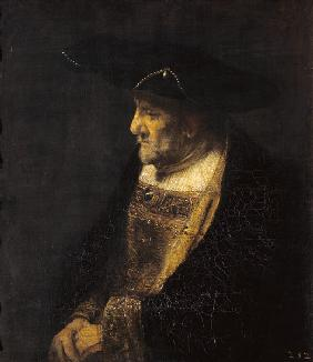 Portrait of a man with pearls at the hat.