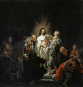 Jesus risen from the dead shows the apostle Thomas for his wounds