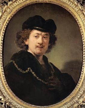 Self-portrait with cap and golden chain