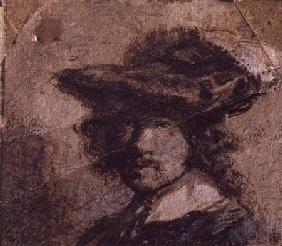 Self Portrait with a Plumed Hat and White Collar