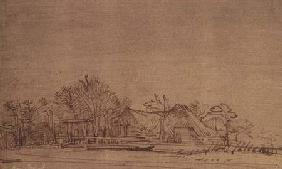 Winter Landscape with Cottages among Trees
