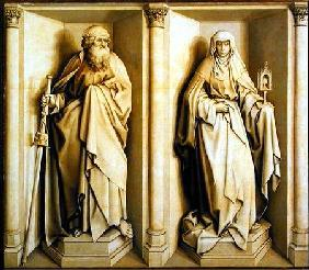 St. James the Great and St. Clare, predella panel from The Nuptials of the Virgin