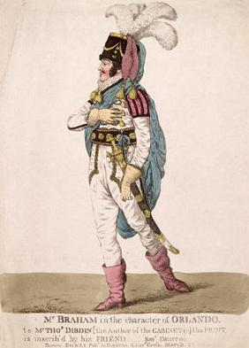 Mr. Braham in the character of Orlando from Shakespeare's 'As You Like It', pub. 1802 (coloured engr