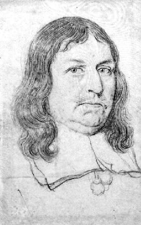 Male portrait possibly of Oliver Cromwell (1599-1658) cil on