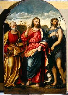 Christ with St. John the Baptist and St. Peter (oil on canvas)